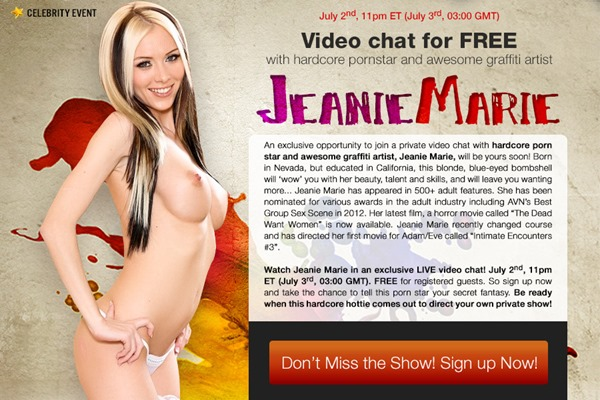 jeanie marie live celebrity webcam event on livex